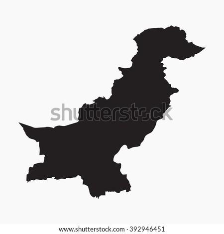 Vector gray map Pakistan. Isolated vector Illustration. Black on Grey background. EPS Illustration. - stock vector