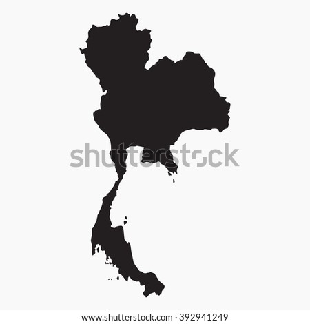 Vector gray map Thailand. Isolated vector Illustration. Black on Grey background. EPS Illustration. - stock vector
