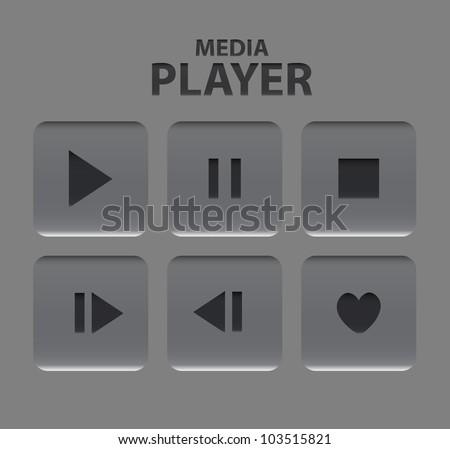 Vector gray media player - stock vector