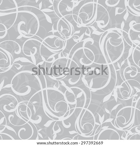 Vector Gray Swirly Texture Seamless Pattern - stock vector