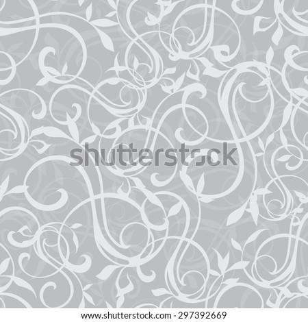 Vector Gray Swirly Texture Seamless Pattern - stock vector