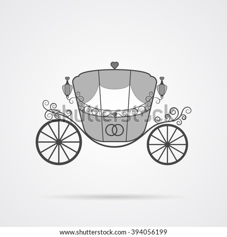 Vector Gray Wedding Carriage Icon over light gray background. Simple element for your wedding designs, wedding business projects, logo, web and other your projects - stock vector