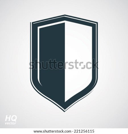 Vector grayscale defense shield, protection design graphic element. High quality illustration on security theme - retro coat of arms. - stock vector