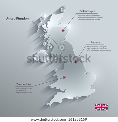 vector Great Britain United Kingdom map glass card paper 3D - stock vector