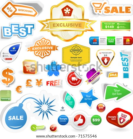 Vector great collection of sale elements. - stock vector