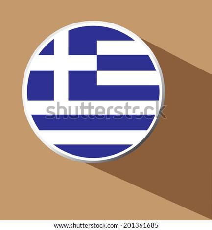 Vector - Greece flag button icon with long shadow  - stock vector