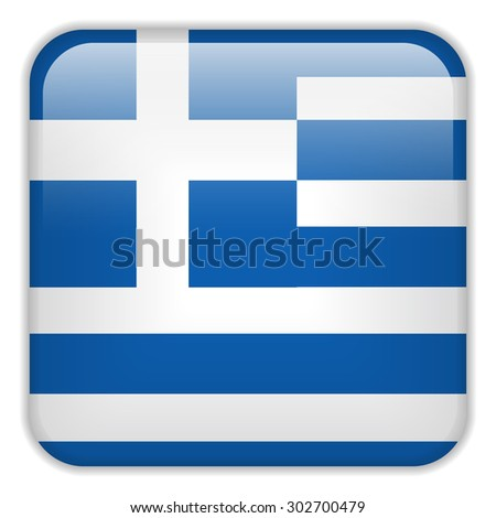 Vector - Greece Flag Smartphone Application Square Buttons - stock vector