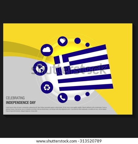 Vector Greece Independence Day Flyer template. Creative Brochure Title Page. National Day Leaflet design element. vector illustration