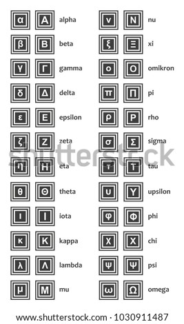 Vector greek alphabet both upper case stock vector 1030911487 vector greek alphabet both upper case and lower case letters with the names isolated urtaz Images