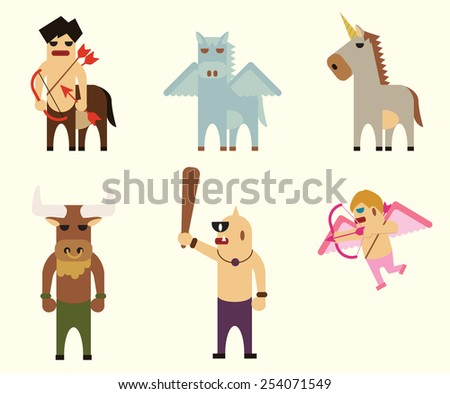 vector 6 greek mythology characters. unicorn, pegasus, centaur, cupid, cyclop, minotaur. - stock vector