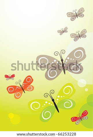 Vector green abstract background with butterfly