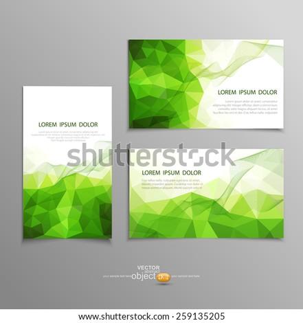 vector green abstract business card templates  - stock vector