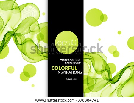 Vector green Abstract color wave design element. Green wave background - stock vector