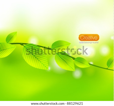 Vector green abstract leaves. Nature background - stock vector