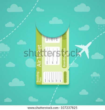 Vector green air ticket on sky background. - stock vector