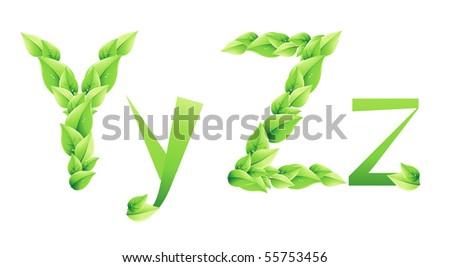 vector green alphabet. - stock vector