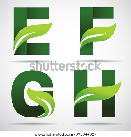 Vector green alphabet.Set of green eco letters logo with leaves: E,F, G,H leaves - stock vector