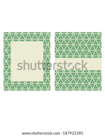 Vector Green and Beige Floral Frame and Invitation Template Set - stock vector