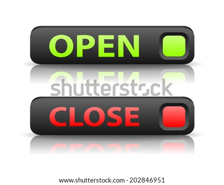 vector green and red state indicator buttons with light shadow and reflection - stock vector