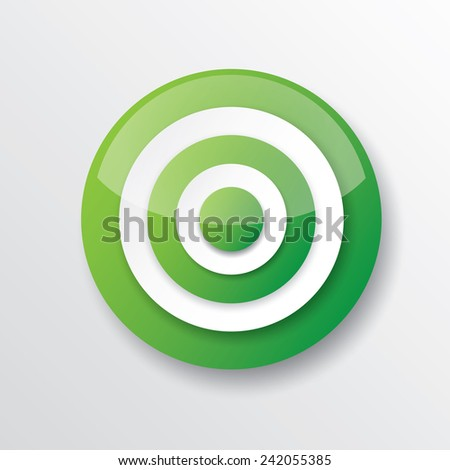 vector green and white target icon. vector glossy target symbol design element