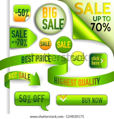 Vector green and yellow discount elements - ribbons, pins, stamps, arrows, buttons