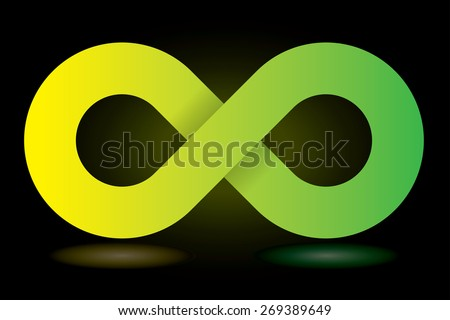Vector green and yellow infinity symbol. - stock vector