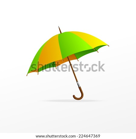 Vector green and yellow umbrella isolated on white - stock vector