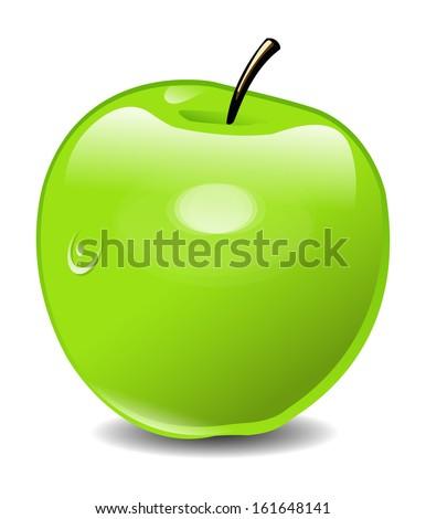 Vector Green Apple - stock vector