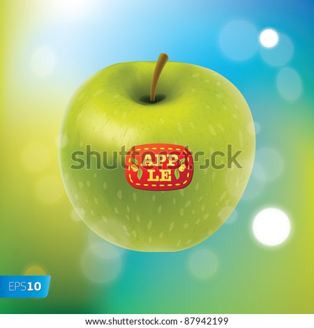 Vector. Green apple vector on a blue background with sunbeams