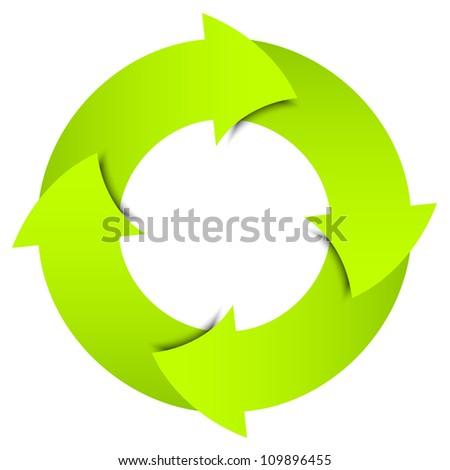 Vector green arrows circle - stock vector