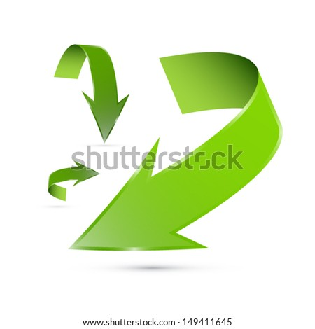 Vector Green Arrows Set Isolated on White Background  - stock vector