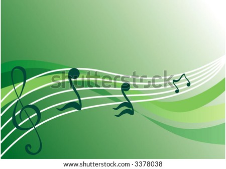 vector green background with notes