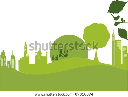 vector - green banner urban nature