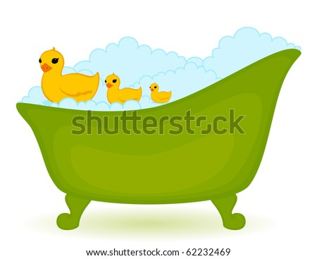Vector green bath with ducks in isolated on white background - stock vector
