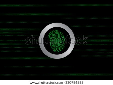 Vector : Green binary number and finger print on black background - stock vector