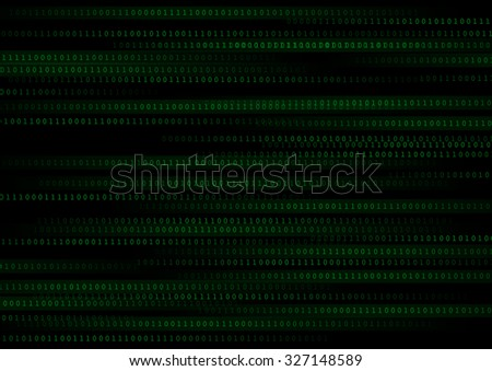 Vector : Green binary number on black background - stock vector
