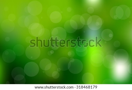 Vector green bokeh background with circles. Summer abstract theme. - stock vector