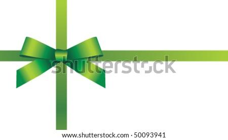 Vector green bow and ribbon - stock vector