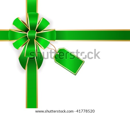 vector green bow with empty green tag - stock vector