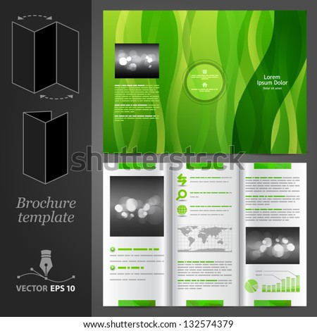 Vector green brochure template design with floral elements. EPS 10 - stock vector