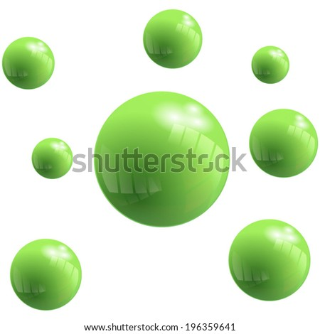 Vector green Bubbles with reflect effect. Abstract Background - stock vector