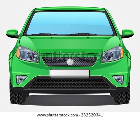 Vector green Car - Front view - stock vector