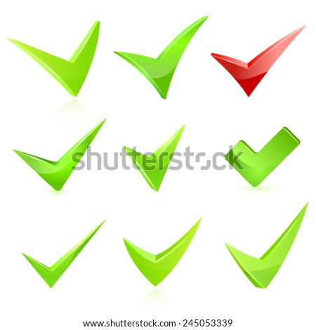 Vector green check mark set - stock vector