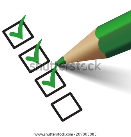 Vector green check mark symbol and icon on checklist with pen for approved design concept and web graphic, EPS 10 illustration on white background.  - stock vector