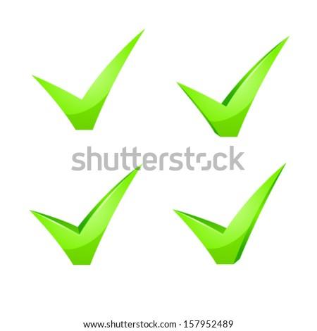Vector green checkmark set - stock vector