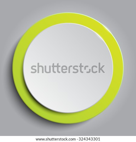 Vector. Green circle button on white background. - stock vector