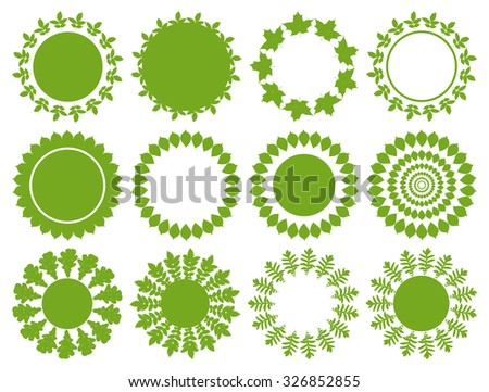 Vector green circle labels , mandala, round shapes, frames with grunge leaves. Elements set for natural, organic, bio, healthy, beauty design. - stock vector