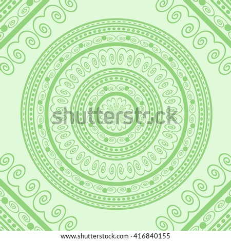 Vector Green Circle Lace Ornament, Round Ornamental Geometric Doily Pattern, Christmas Snowflake Decoration - stock vector