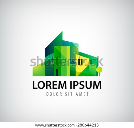 vector green city, buildings icon, logo isolated - stock vector