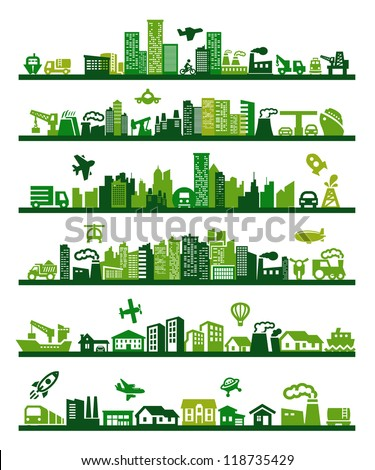 vector green city icons set on gray - stock vector